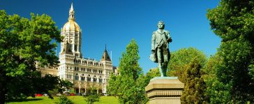 A statue of Israel Putnam, an officer in the American Revolution, stands at the Connecticut State Capitol in Hartford. (Shutterstock/James Kirkikis.)