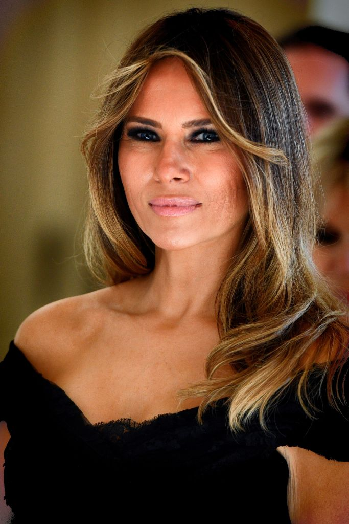 First Lady of the US Melania Trump arrives before a diner of the First Ladies and Queen at the Royal castle in Laken/Laeken in Brussels.(Photo credit: YORICK JANSENS/AFP/Getty Images)