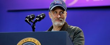 Comedian Jon Stewart attends a comedy show celebrating Military Appreciation Month as well as the 5th anniversary of Joining Forces and the 75th anniversary of the USO at Joint Base Andrews in Clinton, Maryland, U.S. May 5, 2016. REUTERS/Carlos Barria