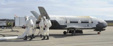 The X-37B Orbital Test Vehicle mission 3 space plane is shown after landing at Vandenberg Air Force Base, California October 17, 2014 in this handout photograph provided by Vandenberg Air Force Base. The United States military landed the robotic space plane in central California on Friday, ending a classified 22-month mission that marked the third in Earth orbit for the experimental program, the Air Force said. (Photo: REUTERS/Boeing/Vandenberg Air Force Base/Handout via Reuters)
