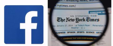 Left: Facebook logo. [rvlsoft / Shutterstock.com] Right: The New York Times logo. [Gil C / Shutterstock.com]