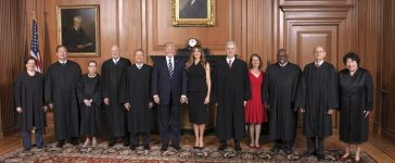 The Supreme Court held a special sitting on June 15, 2017, for the formal investiture ceremony of Associate Justice Neil M. Gorsuch. President Donald J. Trump and First Lady Melania Trump attended as guests of the Court. The President and First Lady with Associate Justice Neil M. Gorsuch and his wife, Mrs. Louise Gorsuch, and other members of the Supreme Court in the Justices' Conference Room at a courtesy visit prior to the investiture ceremony. (Fred Schilling/Collection of the Supreme Court of the United States)