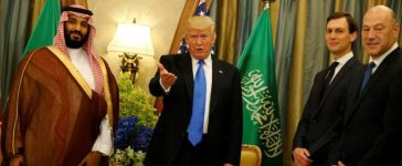 Trump delivers remarks to reporters after meeting with Saudi Arabia's Deputy Crown Prince and Minister of Defense Mohammed bin Salman at the Ritz Carlton Hotel in Riyadh