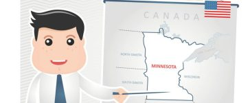 Man pointing to map of Minnesota. (Nosik/Shutterstock)