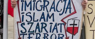 Shutterstock/ WARSAW, POLAND - FEBRUARY 06, 2016: Islam, sharia, terror, unidentified people during demonstration against refugees in Warsaw, Poland. Shutterstock/ Tomasz Bidermann
