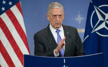 Secretary of Defense Jim Mattis briefs the press at the NATO Headquarters in Brussels, Belgium, June 29, 2017. (DOD photo by U.S. Air Force Staff Sgt. Jette Carr)