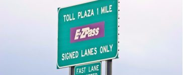 Toll Sign for EZPass: (Shutterstock/Donald Gargano)