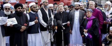 Shutterstock/ London, United Kingdom - 7 June, 2017: Imams from all around the UK gathered by the London Bridge site of third of June terror attack, They prayed together with Anglican bishops