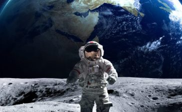 Brave astronaut at the spacewalk on the moon. This image elements furnished by NASA. (Shutterstock/Vadim Sadovski)