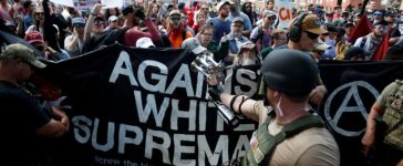 White nationalists are met by a group of counter-protesters in Charlottesville. REUTERS/Joshua Roberts