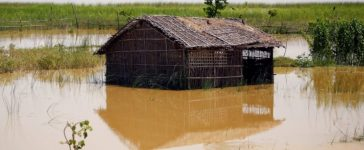 A farm house is submerged by flood water in Saptari District, Nepal August 14, 2017. REUTERS/Navesh Chitrakar