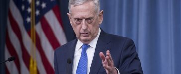 US Secretary of Defense Jim Mattis holds a press briefing at the Pentagon in Washington, DC, May 19, 2017. Pentagon chief Jim Mattis stressed Thursday that America is not getting more involved in Syria's civil war, after the US-led coalition struck a pro-regime convoy heading for a remote garrison. / AFP PHOTO / SAUL LOEB (Photo credit should read SAUL LOEB/AFP/Getty Images)