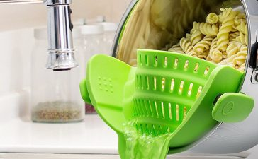 Look how much easier this is to use than a traditional colander (Photo via Amazon)