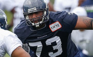 Tackle Michael Bowie #73 of the Seattle Seahawks runs through a drill during Rookie Camp at the Virginia Mason Athletic Center on May 11, 2013 in Renton, Washington. (Photo by Otto Greule Jr/Getty Images)