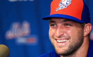 Tim Tebow #15 of the New York Mets speaks at a press conference after a work out at an instructional league day at Tradition Field on September 20, 2016 in Port St. Lucie, Florida. (Photo by Rob Foldy/Getty Images)