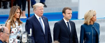 PARIS, FRANCE - JULY 14: U.S President Donald Trump and his wife Melania Trump, French President Emmanuel Macron and his wife Brigitte Trogneux attend the traditional Bastille day military parade on the Champs-Elysees on July 14, 2017 in Paris France. Bastille Day, the French National day commemorates this year the 100th anniversary of the entry of the United States of America into World War I. (Photo by Thierry Chesnot/Getty Images)