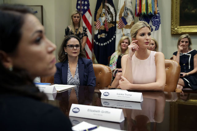 WASHINGTON, DC - AUGUST 02: Assistant to the President and Donlad Trump's daughter Ivanka Trump (R) hosts a listening session with military spouses, including Kim Lopez (2nd L), in the Roosevelt Room at the White House August 2, 2017 in Washington, DC. The military spouses said the choose professions that they can practice no matter where their partners are stationed but that licencing and certification continues to be a challenge when moving to a new post. (Photo by Chip Somodevilla/Getty Images)