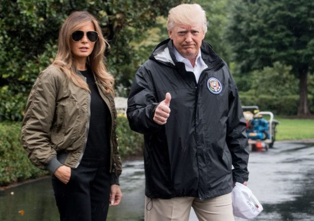 US President Donald Trump and First Lady Melania Trump depart the White House in Washington, DC, on August 29, 2017 for Texas to view the damage caused by Hurricane Harvey. / AFP PHOTO / NICHOLAS KAMM (Photo credit: NICHOLAS KAMM/AFP/Getty Images)