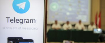 A picture of encrypted messaging service Telegram is seen during a news conference after Indonesian authorities blocked access to some Telegram channels in Jakarta, Indonesia, July 17, 2017 this photo taken by Antara Foto. Picutre taken July 17, 2017. Antara Foto/Muhammad Adimaja via REUTERS.