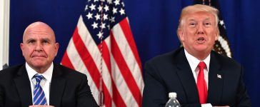 US President Donald Trump, with National Security Advisor H. R. McMaster, speaks during a security briefing on August 10, 2017, at his Bedminster National Golf Club in New Jersey. PHOTO: Getty Images/Nicholas Kamm
