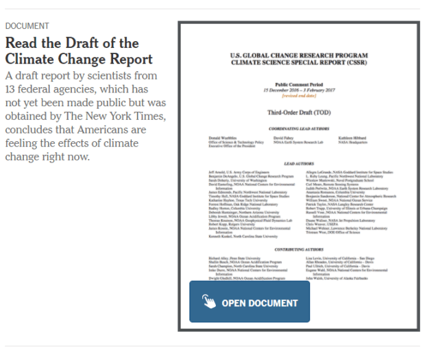 New York Times Climate Report