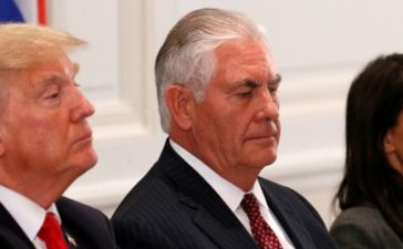 U.S. President Donald Trump, Secretary of State Rex Tillerson and Ambassador to the U.N. Nikki Haley attend a working dinner with Latin American leaders in New York