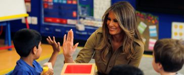 First lady Melania Trump chat with children as she visits American International School of Riyadh, Saudi Arabia, May 21, 2017. REUTERS/Hamad I Mohammed