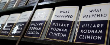 """Former Secretary of State Hillary Clinton's new book """"What Happened"""" sits on shelves at Barnes & Noble bookstore at Union Square in Manhattan, New York City, U.S., September 12, 2017. REUTERS/Andrew Kelly"""