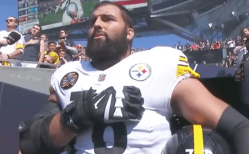 Alejandro Villanueva stands during the national anthem on 9/24 before the Pittsburgh Steelers game (YouTube Screenshot)