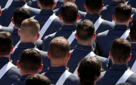 Graduating cadets sit together during commencement ceremonies at the United States Military Academy in West Point