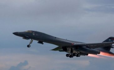 A U.S. Air Force B-1B Lancer assigned to the 37th Expeditionary Bomb Squadron, takes-off to fly a bilateral mission with Japanese and South Korea Air Force jets in the vicinity of the Sea of Japan, from Andersen Air Force Base, Guam, October 10, 2017. Staff Sgt. Joshua Smoot/U.S. Air Force/Handout via REUTERS