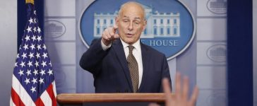 White House Chief of Staff John Kelly takes questions from the media while addressing the daily briefing at the White House in Washington, U.S., October 12, 2017. REUTERS/Kevin Lamarque