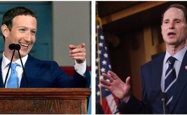 Left: CAMBRIDGE, MA - MAY 25: Facebook Founder and CEO Mark Zuckerberg delivers the commencement address at the Alumni Exercises at Harvard's 366th commencement exercises on May 25, 2017 in Cambridge, Massachusetts. Right: WASHINGTON, DC - MARCH 11: Sen. Ron Wyden (D-OR) speaks about ending sequestration during a news conference on Capitol Hill, March 11, 2015 in Washington, DC. (Photo by Mark Wilson/Getty Images)