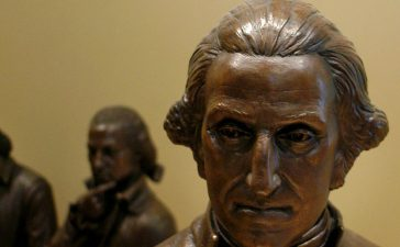 A sculpture of George Washington is seen on display in Signers Hall, where visitors can walk among delegates of the Constitutional Convention, during a preview of the National Constitution Center July 1, 2003 in Philadelphia, Pennsylvania. The National Constitution Center will be the only museum in the U.S. dedicated to honoring and explaining the U.S. Constitution. Supreme Court Justice Sandra Day O'Connor will receive the Philadelphia Liberty Medal at the NCC's grand opening on July 4, 2003. (Photo by William Thomas Cain/Getty Images)
