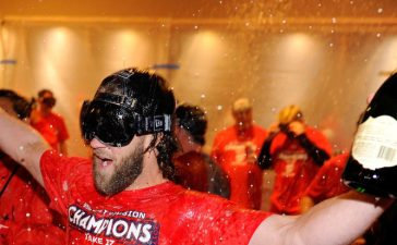 Bryce Harper celebrating after a win at Nationals Park in September 2017 in Washington, DC. (Photo Credit/Getty Images)