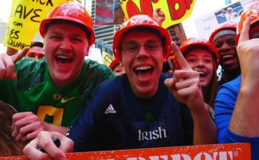 Fans are seen during ESPN's College GameDay show at Times Square in September 2017 in New York City. (Photo by Mike Stobe/Getty Images)
