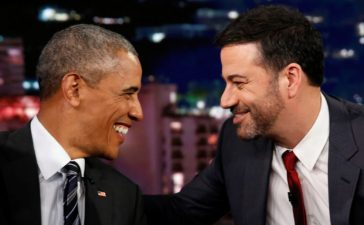 Jimmy Kimmel sharing a tender moment with President Barack Obama. October 24, 2016. REUTERS/Kevin Lamarque