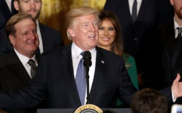 WASHINGTON, DC - OCTOBER 10: U.S. President Donald Trump speaks at an event honoring the National Hockey League champion Pittsburgh Penguins in the East Room of the White House October 10, 2017 in Washington, DC. The Penguins defeated the Nashville Predators in the 2017 NHL Finals, the fifth time the franchise has won the Stanley Cup. (Photo by Win McNamee/Getty Images)