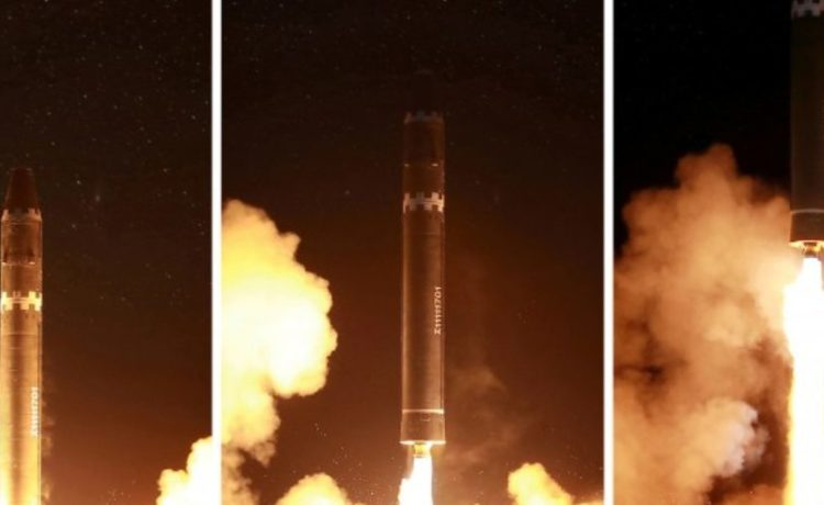 North Korea said the new missile reached an altitude of about 4,475 km (2,780 miles) - more than 10 times the height of the International Space Station - and flew 950 km (590 miles) during its 53-minute flight. REUTERS/KCNA