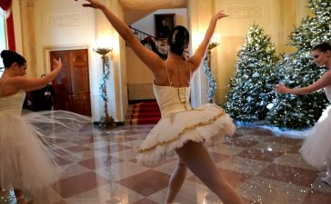 Ballerinas perform before U.S. First Lady Melania Trump (not pictured) begins a tour of the holiday decorations with reporters at the White House. REUTERS/Jonathan Ernst