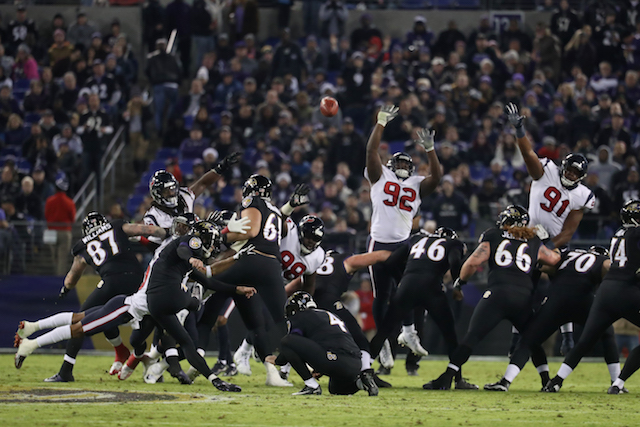 BALTIMORE, MD - NOVEMBER 27: Kicker Justin Tucker #9 of the Baltimore Ravens kicks a field goal in the second quarter against the Houston Texans at M&T Bank Stadium on November 27, 2017 in Baltimore, Maryland. (Photo by Rob Carr/Getty Images)