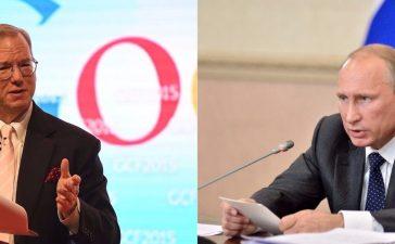Left: Google CEO Eric Schmidt (Photo: FAYEZ NURELDINE/AFP/Getty Images) Right: Russian President Vladimir Putin [Shutterstock - Evgenii Sribnyi]
