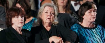 Kathleen Willey, Juanita Broaddrick and Kathy Shelton (L-R) are seated at the second U.S. presidential debate between Republican U.S. presidential nominee Donald Trump and Democratic U.S. presidential nominee Hillary Clinton at Washington University in St. Louis, Missouri, U.S., October 9, 2016. REUTERS/Jim Young