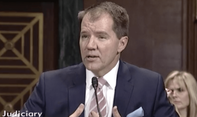 Justice Don Willett appears before the Senate Judiciary Committee in Nov. 2017. (Screenshot)