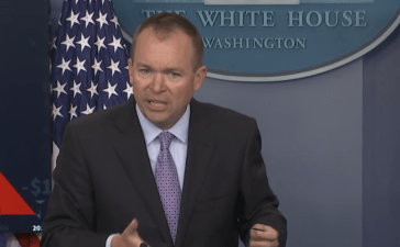 Mick Mulvaney speaks at the White House in May 2017. (YouTube screenshot/PBS News Hour)