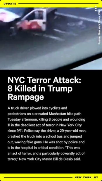 "NowThis mischaracterized the NYC terror attack as a ""Trump rampage"" (Screenshot/Snapchat/NowThis)"