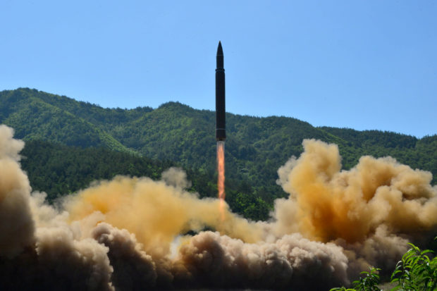 The intercontinental ballistic missile Hwasong-14 is seen during its test in this undated photo released by North Korea's Korean Central News Agency (KCNA) in Pyongyang, North Korea July 5 2017. To Match Special Report USA-NUCLEAR/ICBM KCNA/via REUTERS