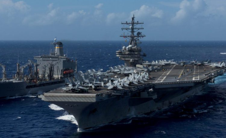 The USS Ronald Reagan in waters around Okinawa southwest of the Korean peninsula, October 9, 2017. U.S. Navy/Mass Communication Specialist 2nd Class Kenneth Abbate/via REUTERS