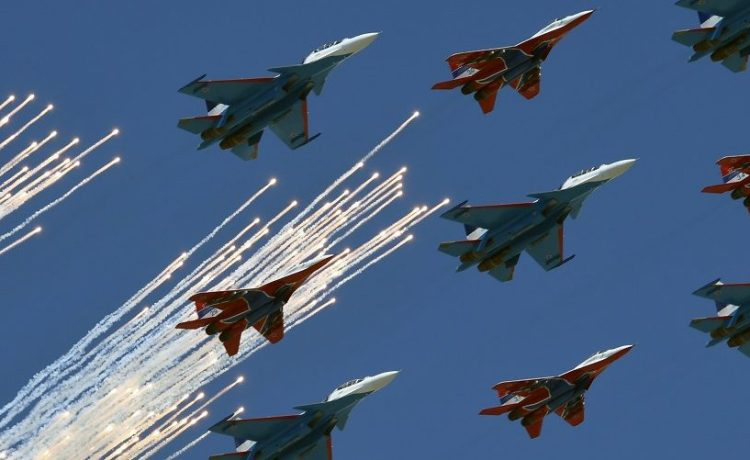 A mixed flight group of Strizhi (Swifts) on MIG-29 aircrafts and Russkie Vityazi (Russian knights) on Su-30 aircrafts fly over Red Square during the Victory Day military parade general rehearsal in Moscow on May 7, 2017. (Photo: Kirill Kudryavtsev/AFP/Getty Images)