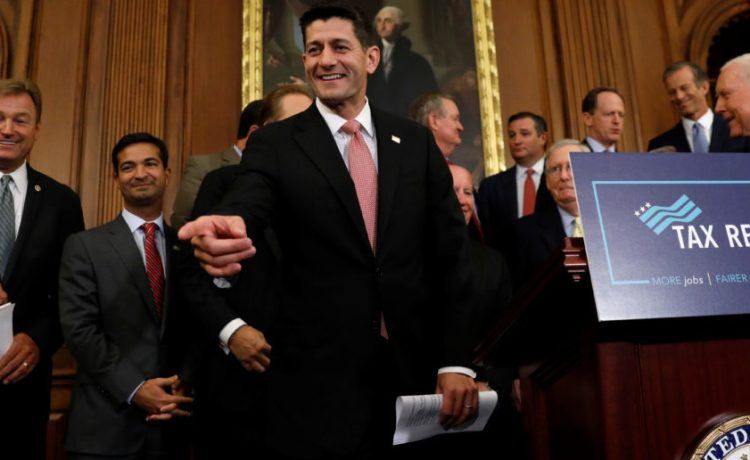 Speaker of the House Paul Ryan arrives to speak about the Republican tax plan in the U.S. Capitol in Washington, U.S., September 27, 2017. REUTERS/Kevin Lamarque